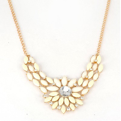 Noble White Inlaid Drill Sunflower V Shape Pendant Alloy Bib Necklaces
