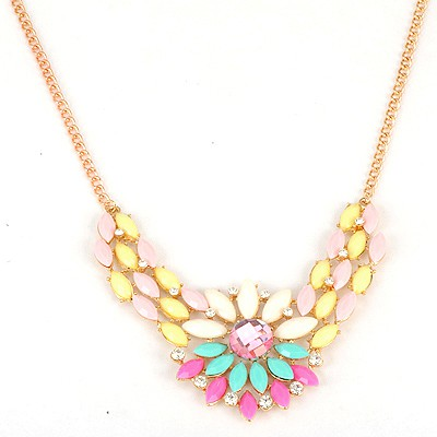 Custom Multicolor Inlaid Drill Sunflower V Shape Pendant Alloy Bib Necklaces