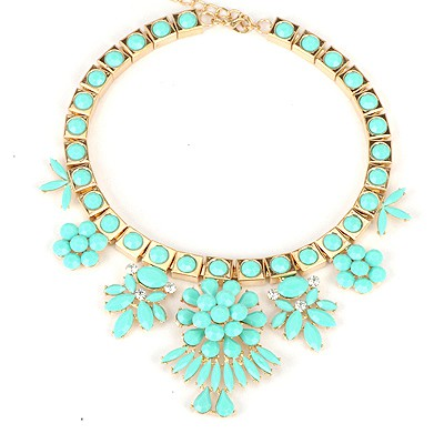 Stylish Blue Elegant Flower Gemstone Decorated Alloy Bib Necklaces