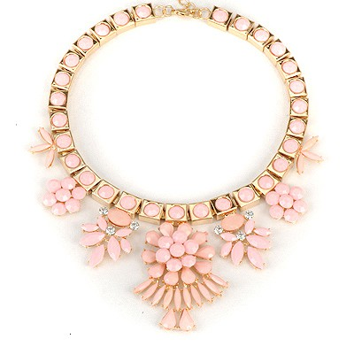 Hipster Pink Elegant Flower Gemstone Decorated Alloy Bib Necklaces