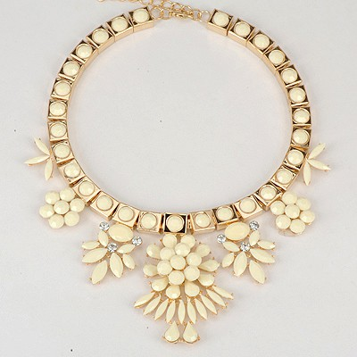 Wedding Beige Elegant Flower Gemstone Decorated Alloy Bib Necklaces