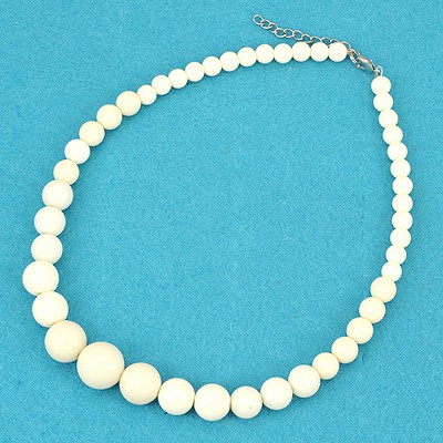 Pierced Beige Bohemia Style Round Beads Simple Design Alloy Beaded Necklaces