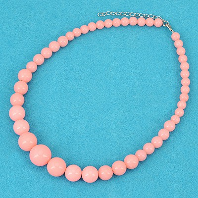 Upper Watermelon Red Bohemia Style Round Beads Simple Design Alloy Beaded Necklaces