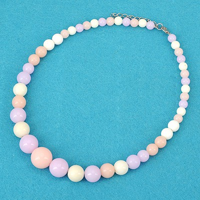 Varsity Purple Bohemia Style Round Beads Simple Design Alloy Beaded Necklaces