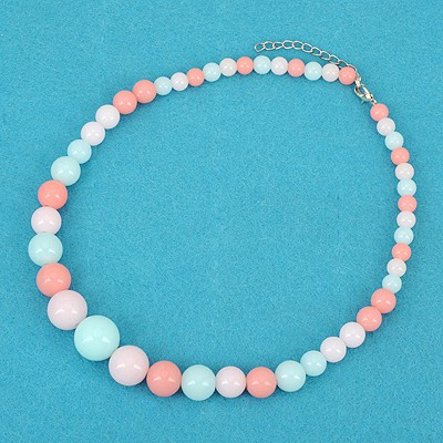 Inspired Blue Bohemia Style Round Beads Simple Design Alloy Beaded Necklaces