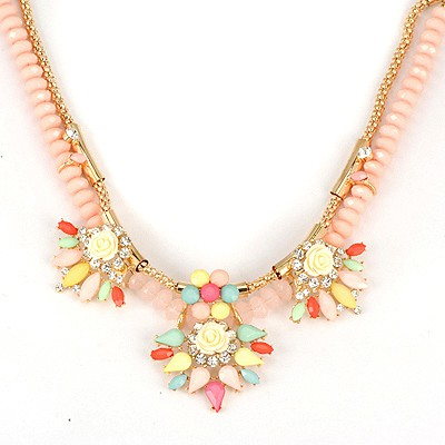 Aluminium Multicolor Rose Decorated Double Layer Design Alloy Bib Necklaces