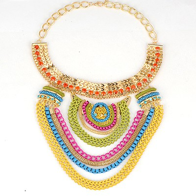 Peterbilt Multicolor Multilayer Pendant Exaggerate Design Alloy Bib Necklaces