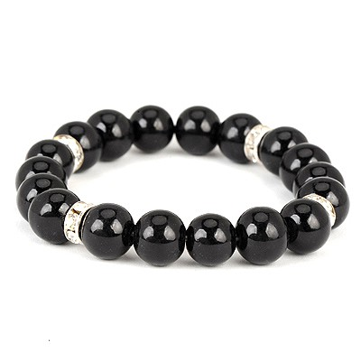 Fit Black Diamond Decorated Simple Design Pearl Korean Fashion Bracelet