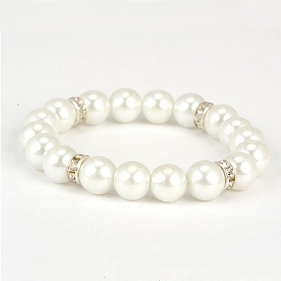 Flirty White Diamond Decorated Simple Design Pearl Korean Fashion Bracelet