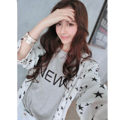 Square White Five-Pointed Star Pattern Design Chiffon Sunscreen Shirts