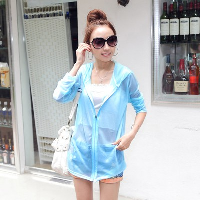Bridal Blue Pure Color Transparent Design Chiffon Sunscreen Shirts