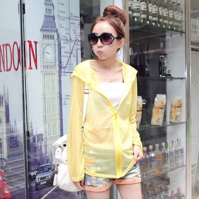 Bodybuildi Bright Yellow Pure Color Transparent Design Chiffon Sunscreen Shirts