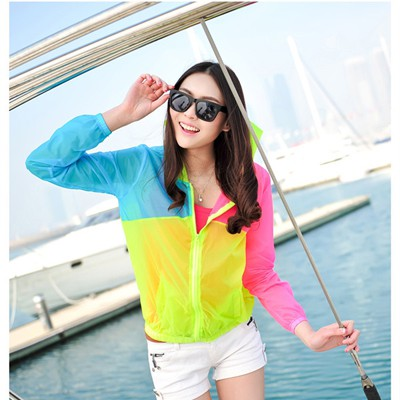 Amethyst Yellow Three Colors Patchwork Transparent Design Polyamide Sunscreen Shirts