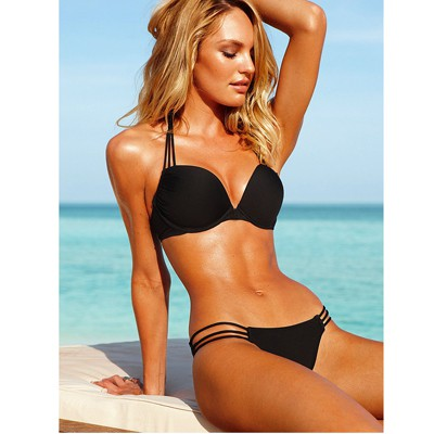 Slim Black Push Up Strappy Halter Polyamide Fibre Sexy Bikini