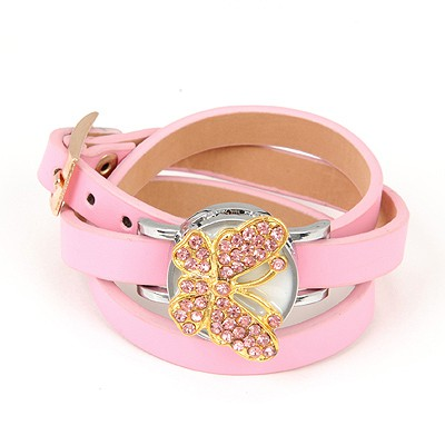 Equestrian Pink Inlaid Drill Butterfly Decorated Alloy Ladies Watches