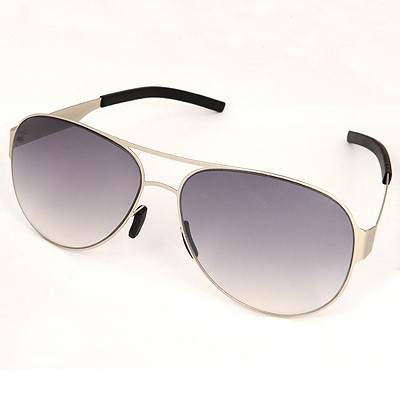 Healing Gray Silver Frame Simple Design Alloy Women Sunglasses