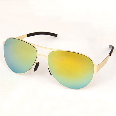 Elegant Gold Color Reflective Film Simple Design Alloy Women Sunglasses