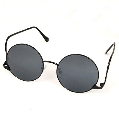 Maternity Black Round Shape Reflective Film Design Alloy Women Sunglasses