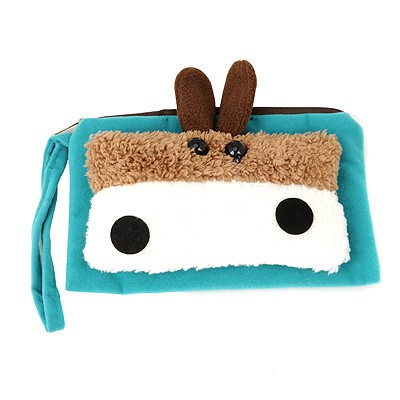 Electronic Blue cute cartoon Little donkey decorated multifunction design Flannelette Wallet