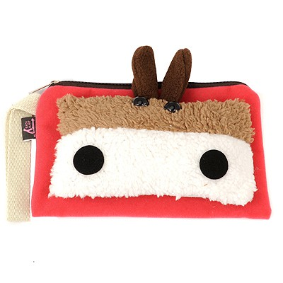 Rhinestone Red cute cartoon Little donkey decorated multifunction design Flannelette Wallet