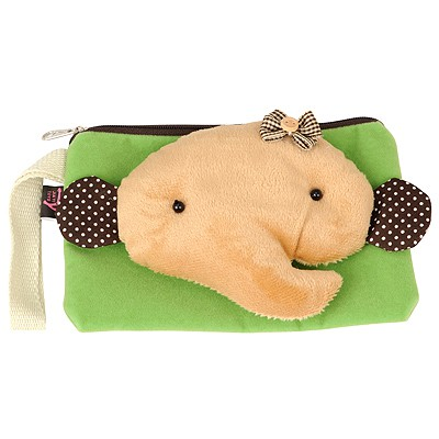 Crucifix Green cute cartoon elephant decorated multifunction design Flannelette Wallet