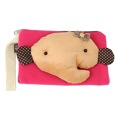 Ultra Plum Red cute cartoon elephant decorated multifunction design Flannelette Wallet