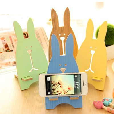 Collar Color Will Be Random lovely cartoon rabbit shape design Medium Density Fiberboard Phone holder