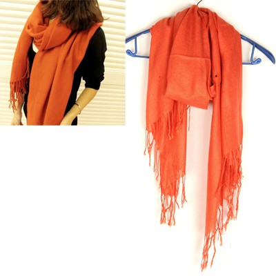 Harry Orange Tassel Pure Color Design Cotton Thin Scaves