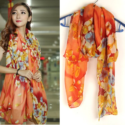 Ruby Orange Bright Flower Pattern Design Voile Thin Scaves