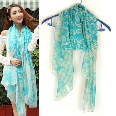 Skinny Light Blue Cashew Nut Pattern Design Voile Thin Scaves