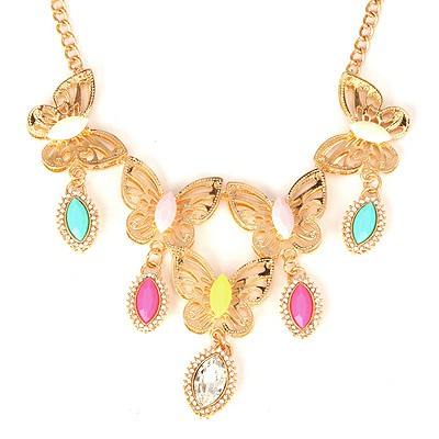 Wishbone Multicolor Boutique Butterfly Tears Design Alloy Bib Necklaces