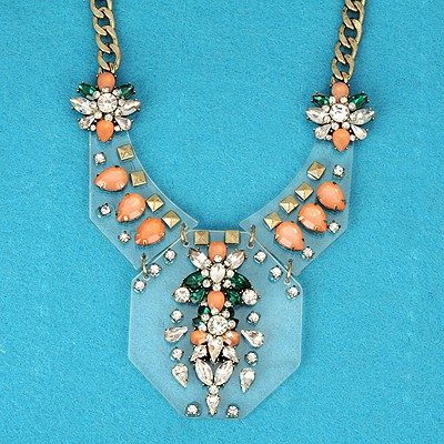 Autism Multicolor Irregular Gemstone Decorated Alloy Bib Necklaces