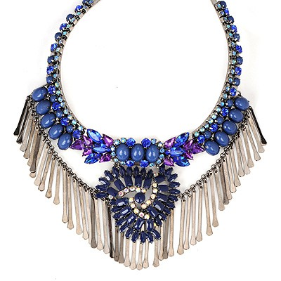 Photograph Blue Elegant Tassel Decorated Alloy Bib Necklaces