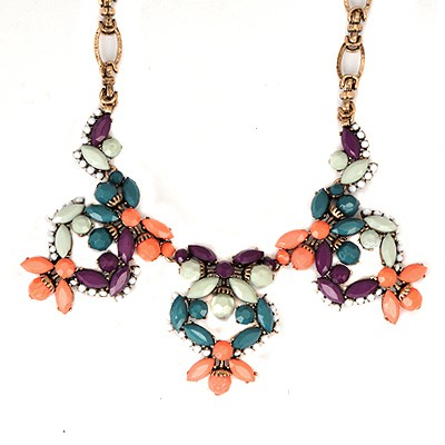 Masonic Multicolor Vintage Flower Gemstone Decorated Alloy Bib Necklaces