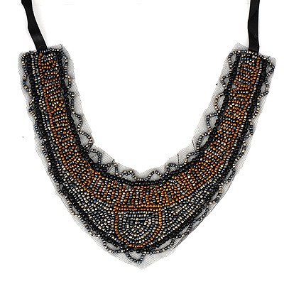 Hydraulic Black Beads Weave Fake Collar Design Alloy Bib Necklaces