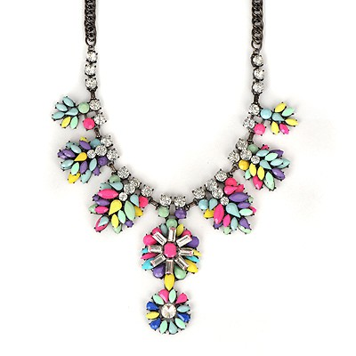 Royal Multicolor Leaves Temperament Gemstone Pendant Alloy Bib Necklaces