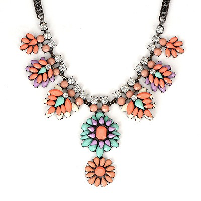 Magnetic Watermelon Red Leaves Temperament Gemstone Pendant Alloy Bib Necklaces