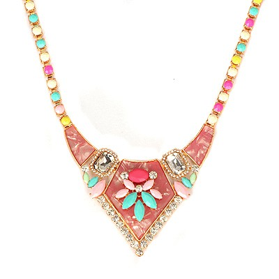Famale Multicolor Gemstone Decorated Bead Chain Design Alloy Bib Necklaces