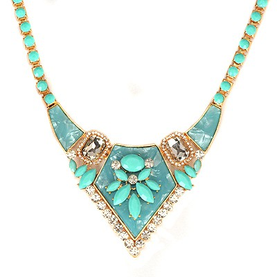 Handmade Blue Gemstone Decorated Bead Chain Design Alloy Bib Necklaces
