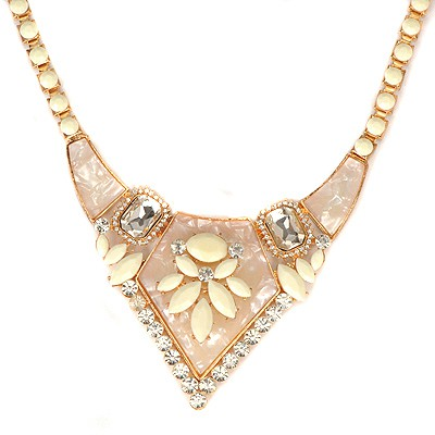 Cranes Beige Gemstone Decorated Bead Chain Design Alloy Bib Necklaces
