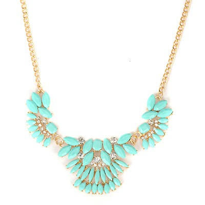 Stretch Lake Blue Metal Inlaid Gemstone Decorated Alloy Bib Necklaces