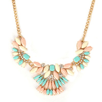 Lightning Multicolor Metal Inlaid Gemstone Decorated Alloy Bib Necklaces