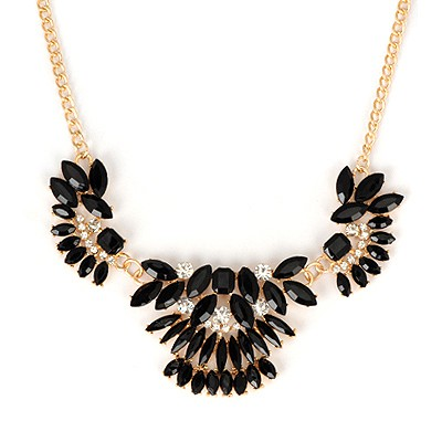 Health Black Metal Inlaid Gemstone Decorated Alloy Bib Necklaces