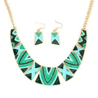 Shining Green Irregular Square Shape Gemstone Patchwork Alloy Jewelry Sets