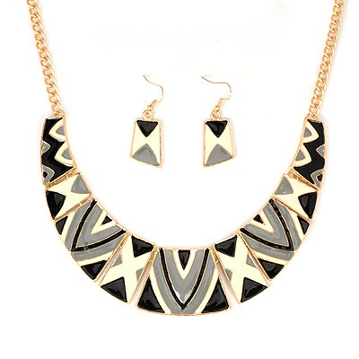 Portable Gray Irregular Square Shape Gemstone Patchwork Alloy Jewelry Sets