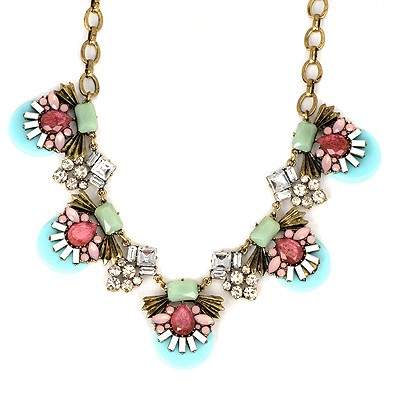 Expensive Light Blue Abstract Bee Gemstone Decorated Alloy Bib Necklaces