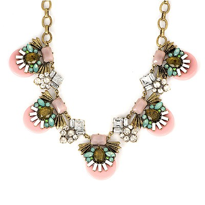 Infinity Pink Abstract Bee Gemstone Decorated Alloy Bib Necklaces