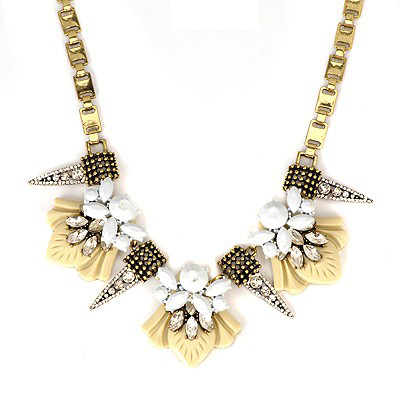 Indie White Full Of Drill Taper Type Decorated Alloy Bib Necklaces