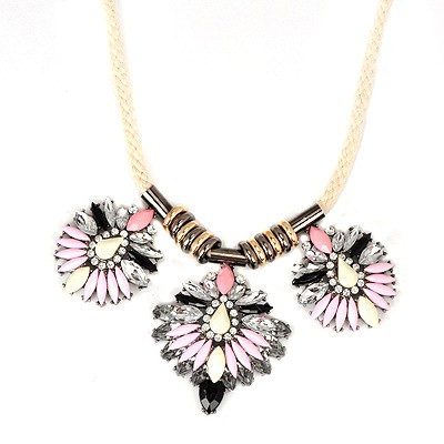 Business Light Purple Three Oval Shape Flower Gemstone Decorated Alloy Bib Necklaces