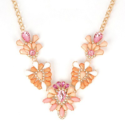Sweet Pink Hollow Out Gemstone V Shape Design Alloy Bib Necklaces